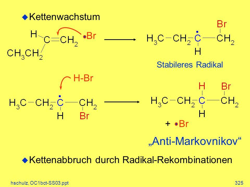 hschulz, OC1bct-SS03.ppt325 Kettenwachstum Kettenabbruch durch Radikal-Rekombinationen Br H-Br + Br Anti-Markovnikov Stabileres Radikal