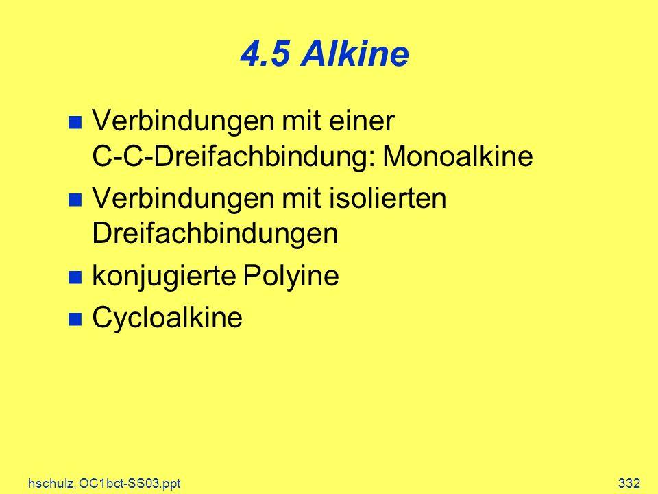 hschulz, OC1bct-SS03.ppt332 4.5 Alkine Verbindungen mit einer C-C-Dreifachbindung: Monoalkine Verbindungen mit isolierten Dreifachbindungen konjugiert