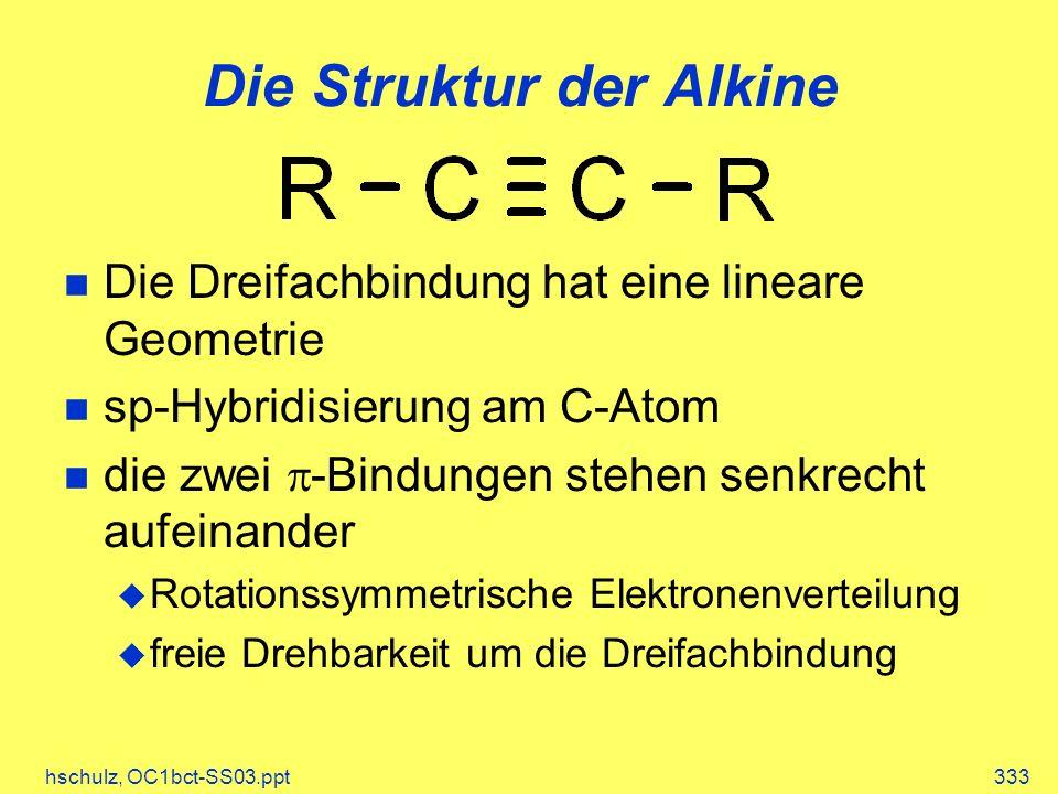 hschulz, OC1bct-SS03.ppt333 Die Struktur der Alkine Die Dreifachbindung hat eine lineare Geometrie sp-Hybridisierung am C-Atom die zwei -Bindungen stehen senkrecht aufeinander Rotationssymmetrische Elektronenverteilung freie Drehbarkeit um die Dreifachbindung