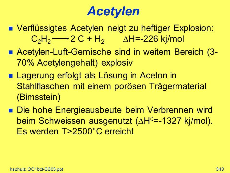 hschulz, OC1bct-SS03.ppt340 Acetylen Verflüssigtes Acetylen neigt zu heftiger Explosion: C 2 H 2 2 C + H 2 H=-226 kj/mol Acetylen-Luft-Gemische sind in weitem Bereich (3- 70% Acetylengehalt) explosiv Lagerung erfolgt als Lösung in Aceton in Stahlflaschen mit einem porösen Trägermaterial (Bimsstein) Die hohe Energieausbeute beim Verbrennen wird beim Schweissen ausgenutzt ( H 0 =-1327 kj/mol).