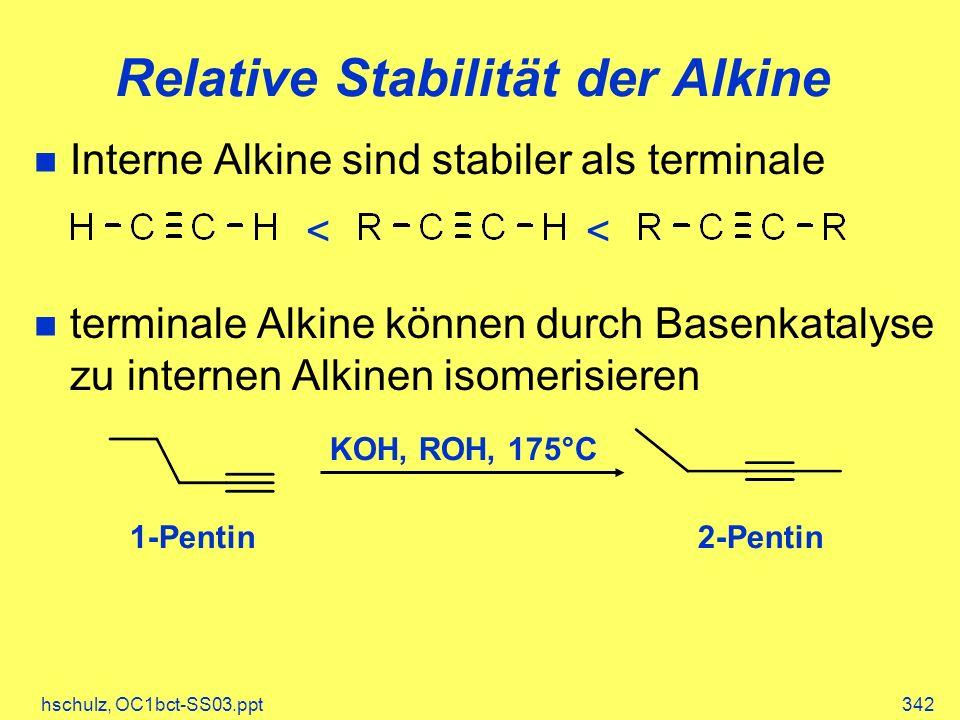 hschulz, OC1bct-SS03.ppt342 Relative Stabilität der Alkine Interne Alkine sind stabiler als terminale terminale Alkine können durch Basenkatalyse zu i
