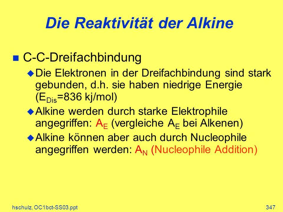 hschulz, OC1bct-SS03.ppt347 Die Reaktivität der Alkine C-C-Dreifachbindung Die Elektronen in der Dreifachbindung sind stark gebunden, d.h.