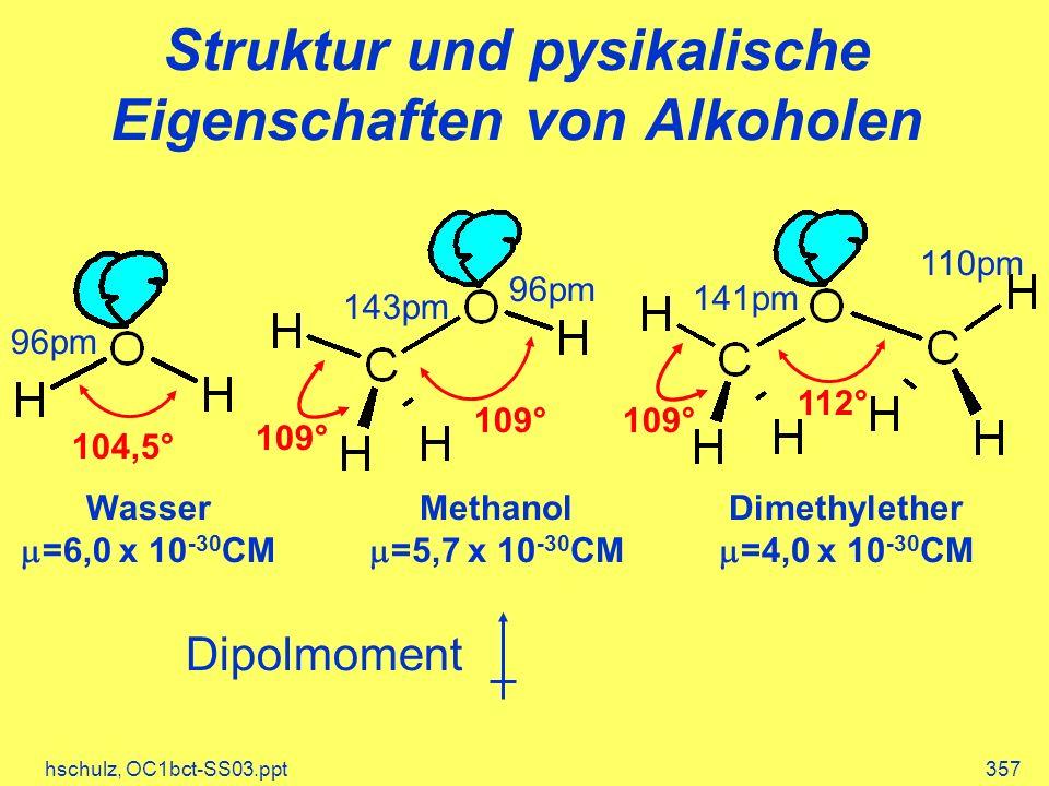 hschulz, OC1bct-SS03.ppt357 Struktur und pysikalische Eigenschaften von Alkoholen 104,5° 109° 112° 109° 96pm 141pm 143pm 96pm 110pm Wasser =6,0 x 10 -