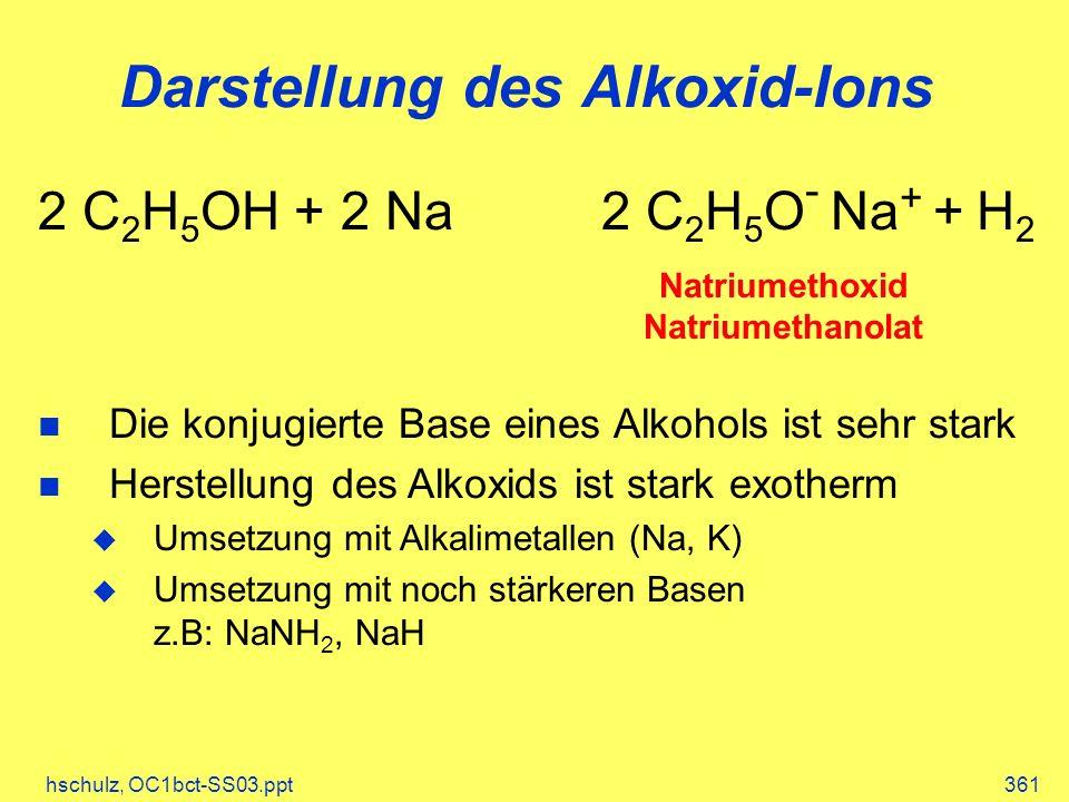 hschulz, OC1bct-SS03.ppt361 Darstellung des Alkoxid-Ions Natriumethoxid Natriumethanolat 2 C 2 H 5 OH + 2 Na 2 C 2 H 5 O - Na + + H 2 Die konjugierte Base eines Alkohols ist sehr stark Herstellung des Alkoxids ist stark exotherm Umsetzung mit Alkalimetallen (Na, K) Umsetzung mit noch stärkeren Basen z.B: NaNH 2, NaH