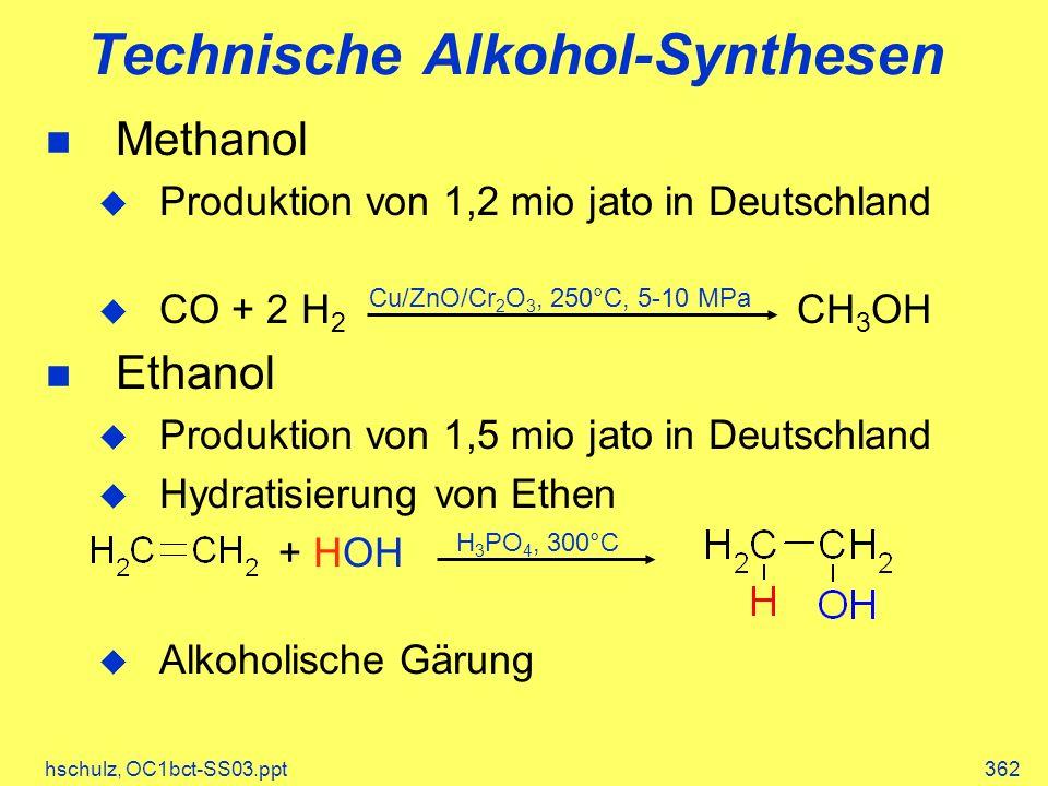hschulz, OC1bct-SS03.ppt362 Technische Alkohol-Synthesen Methanol Produktion von 1,2 mio jato in Deutschland CO + 2 H 2 CH 3 OH Ethanol Produktion von
