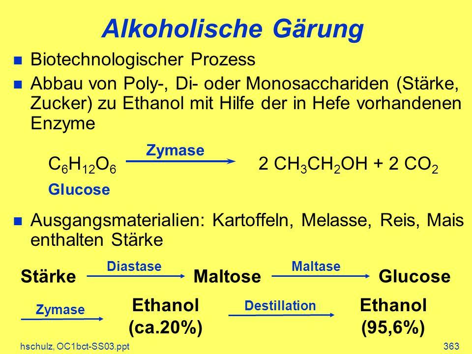 hschulz, OC1bct-SS03.ppt363 Alkoholische Gärung Biotechnologischer Prozess Abbau von Poly-, Di- oder Monosacchariden (Stärke, Zucker) zu Ethanol mit Hilfe der in Hefe vorhandenen Enzyme Ausgangsmaterialien: Kartoffeln, Melasse, Reis, Mais enthalten Stärke C 6 H 12 O 6 2 CH 3 CH 2 OH + 2 CO 2 Zymase Glucose StärkeMaltose Glucose Ethanol (ca.20%) Ethanol (95,6%) DiastaseMaltase Zymase Destillation