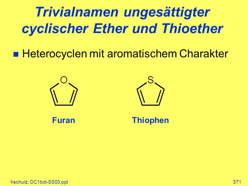 hschulz, OC1bct-SS03.ppt371 Trivialnamen ungesättigter cyclischer Ether und Thioether Heterocyclen mit aromatischem Charakter FuranThiophen