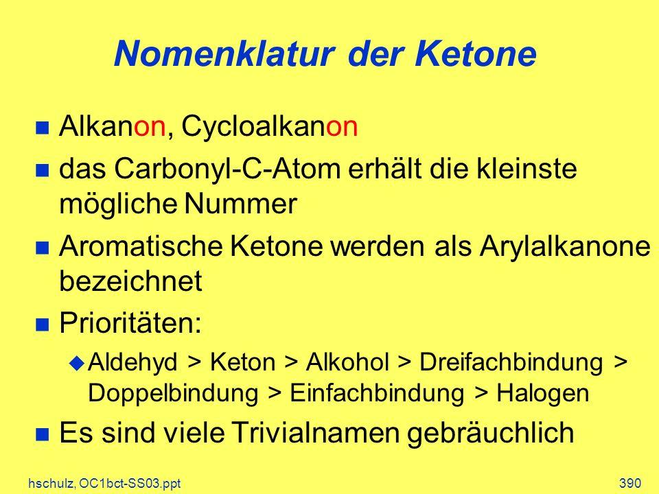 hschulz, OC1bct-SS03.ppt390 Nomenklatur der Ketone Alkanon, Cycloalkanon das Carbonyl-C-Atom erhält die kleinste mögliche Nummer Aromatische Ketone we