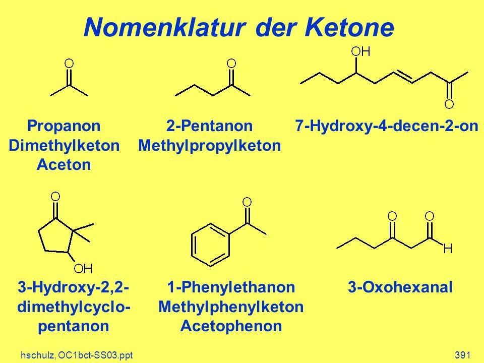 hschulz, OC1bct-SS03.ppt391 Nomenklatur der Ketone Propanon Dimethylketon Aceton 3-Hydroxy-2,2- dimethylcyclo- pentanon 7-Hydroxy-4-decen-2-on2-Pentanon Methylpropylketon 3-Oxohexanal1-Phenylethanon Methylphenylketon Acetophenon