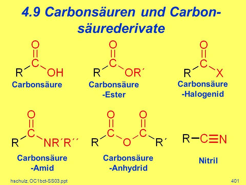 hschulz, OC1bct-SS03.ppt401 4.9 Carbonsäuren und Carbon- säurederivate CarbonsäureCarbonsäure -Ester Carbonsäure -Anhydrid Carbonsäure -Halogenid Carbonsäure -Amid Nitril