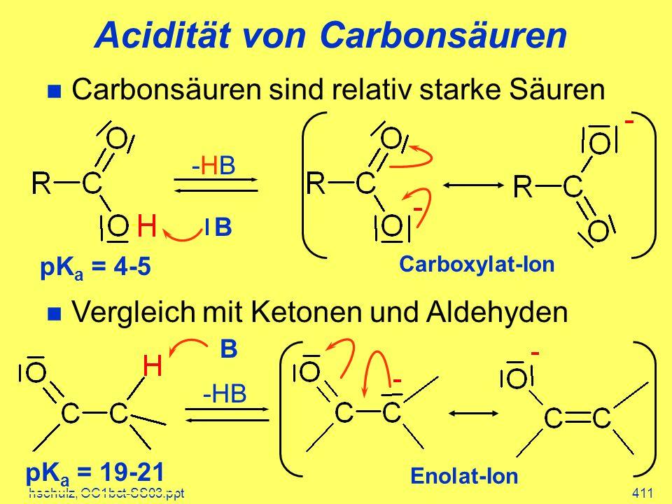 hschulz, OC1bct-SS03.ppt411 Carbonsäuren sind relativ starke Säuren Vergleich mit Ketonen und Aldehyden Acidität von Carbonsäuren -HB B Enolat-Ion pK a = 19-21 -HB-HB B pK a = 4-5 Carboxylat-Ion