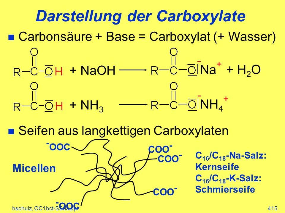 hschulz, OC1bct-SS03.ppt415 Darstellung der Carboxylate Carbonsäure + Base = Carboxylat (+ Wasser) Seifen aus langkettigen Carboxylaten + NaOH + H 2 ONa + + NH 3 NH 4 + COO - - OOC C 16 /C 18 -Na-Salz: Kernseife C 16 /C 18 -K-Salz: Schmierseife Micellen