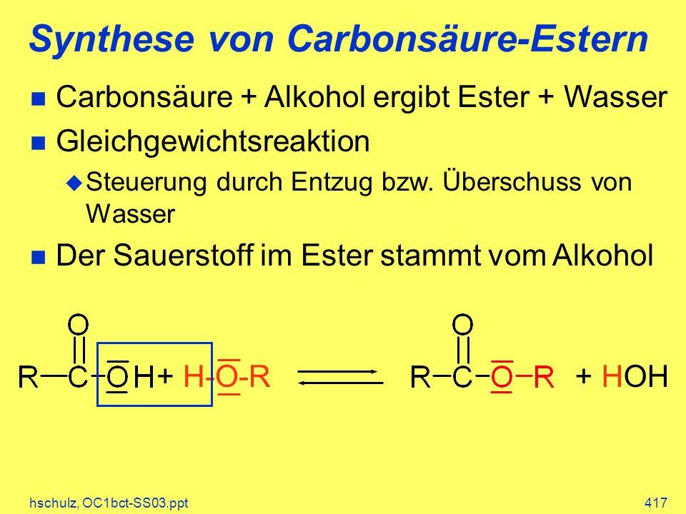 hschulz, OC1bct-SS03.ppt417 Synthese von Carbonsäure-Estern Carbonsäure + Alkohol ergibt Ester + Wasser Gleichgewichtsreaktion Steuerung durch Entzug