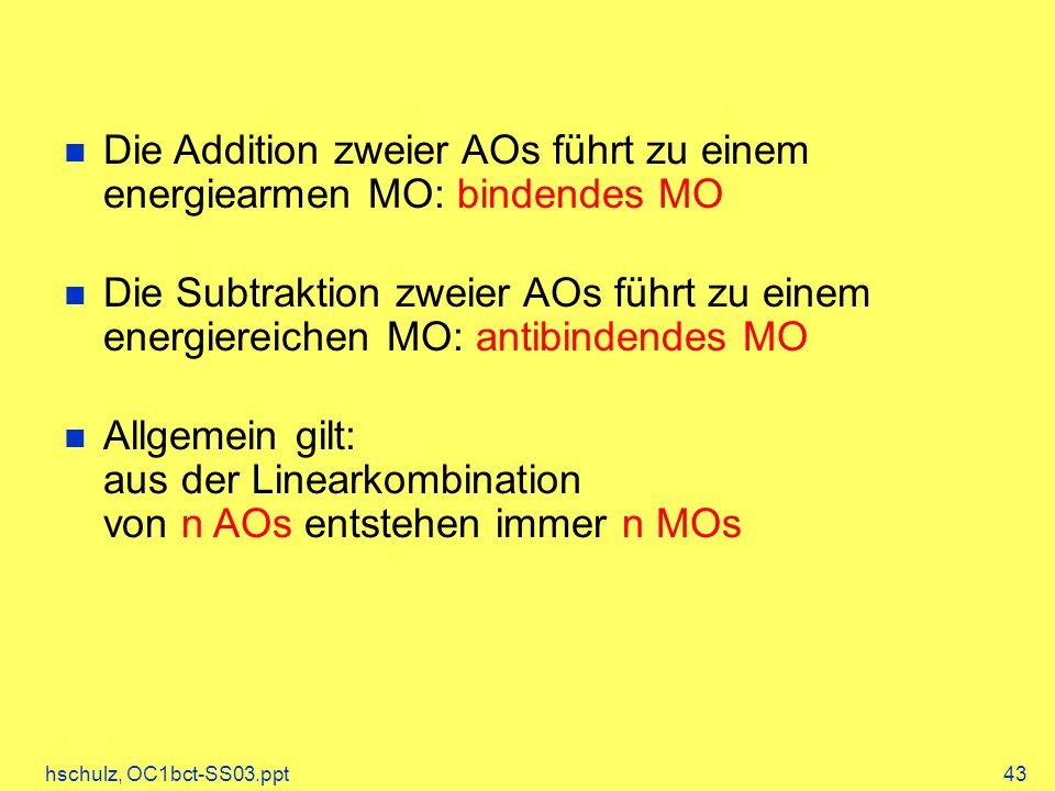 hschulz, OC1bct-SS03.ppt43 Die Addition zweier AOs führt zu einem energiearmen MO: bindendes MO Die Subtraktion zweier AOs führt zu einem energiereichen MO: antibindendes MO Allgemein gilt: aus der Linearkombination von n AOs entstehen immer n MOs