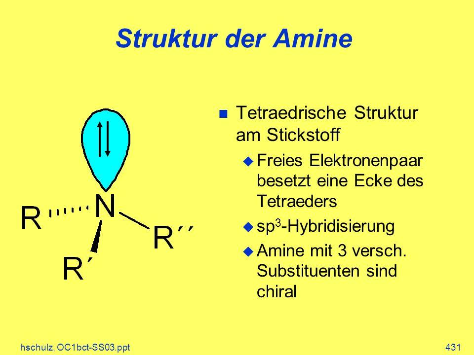 hschulz, OC1bct-SS03.ppt431 Struktur der Amine Tetraedrische Struktur am Stickstoff Freies Elektronenpaar besetzt eine Ecke des Tetraeders sp 3 -Hybridisierung Amine mit 3 versch.