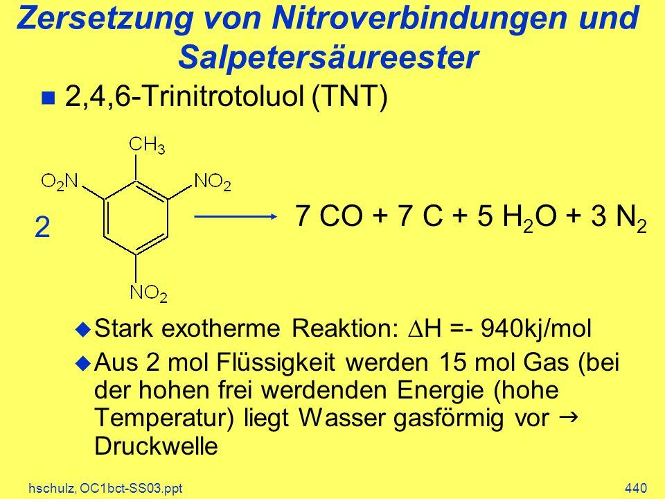 hschulz, OC1bct-SS03.ppt440 Zersetzung von Nitroverbindungen und Salpetersäureester 2,4,6-Trinitrotoluol (TNT) Stark exotherme Reaktion: H =- 940kj/mol Aus 2 mol Flüssigkeit werden 15 mol Gas (bei der hohen frei werdenden Energie (hohe Temperatur) liegt Wasser gasförmig vor Druckwelle 7 CO + 7 C + 5 H 2 O + 3 N 2 2