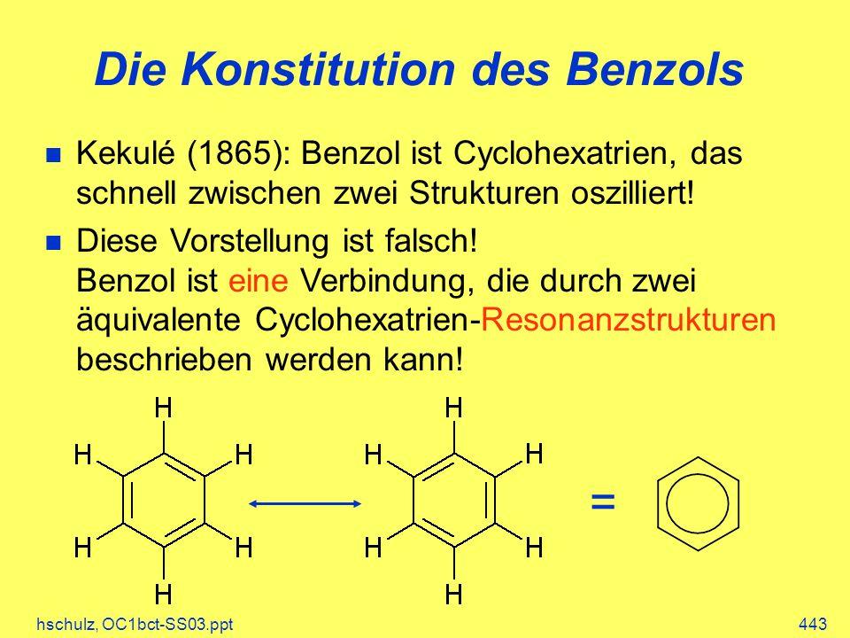 hschulz, OC1bct-SS03.ppt443 Die Konstitution des Benzols Kekulé (1865): Benzol ist Cyclohexatrien, das schnell zwischen zwei Strukturen oszilliert! Di