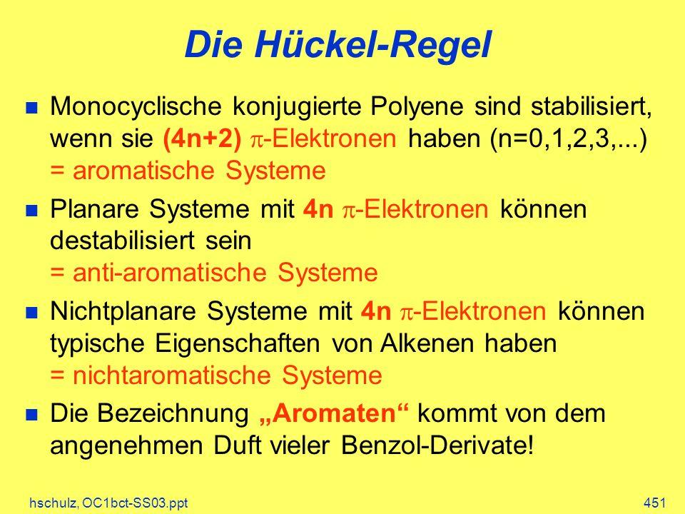 hschulz, OC1bct-SS03.ppt451 Die Hückel-Regel Monocyclische konjugierte Polyene sind stabilisiert, wenn sie (4n+2) -Elektronen haben (n=0,1,2,3,...) = aromatische Systeme Planare Systeme mit 4n -Elektronen können destabilisiert sein = anti-aromatische Systeme Nichtplanare Systeme mit 4n -Elektronen können typische Eigenschaften von Alkenen haben = nichtaromatische Systeme Die Bezeichnung Aromaten kommt von dem angenehmen Duft vieler Benzol-Derivate!