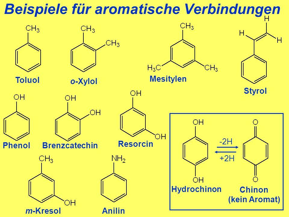 Beispiele für aromatische Verbindungen Toluol Styrol Anilin Phenol Resorcin Brenzcatechin m-Kresol o-Xylol Mesitylen Hydrochinon +2H -2H Chinon (kein Aromat)