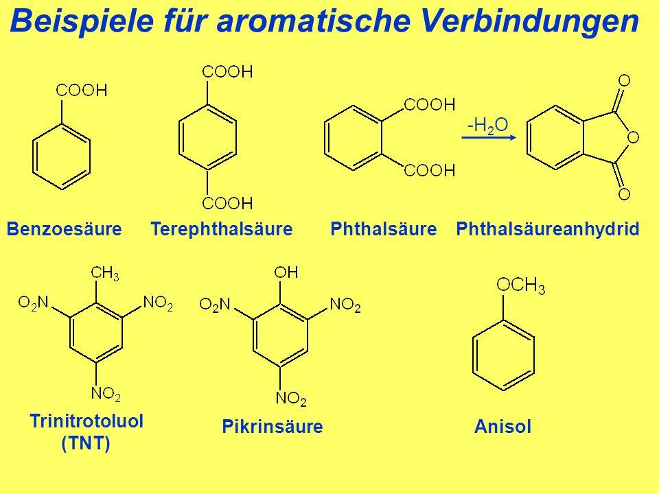 Beispiele für aromatische Verbindungen BenzoesäurePhthalsäureTerephthalsäurePhthalsäureanhydrid -H 2 O Pikrinsäure Trinitrotoluol (TNT) Anisol