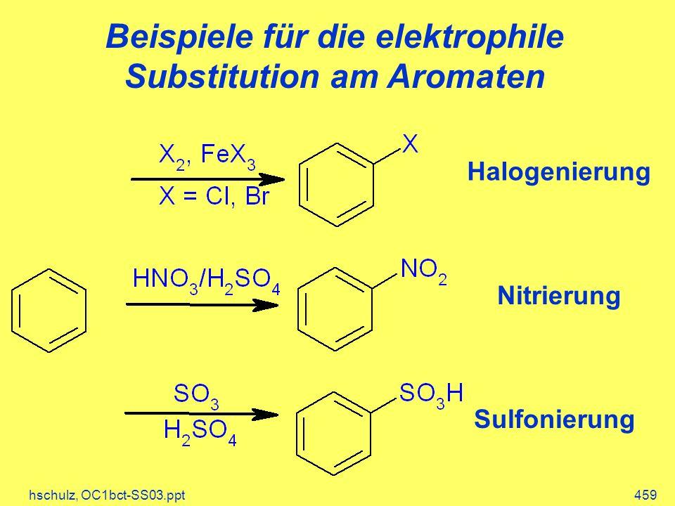 hschulz, OC1bct-SS03.ppt459 Beispiele für die elektrophile Substitution am Aromaten Halogenierung Nitrierung Sulfonierung