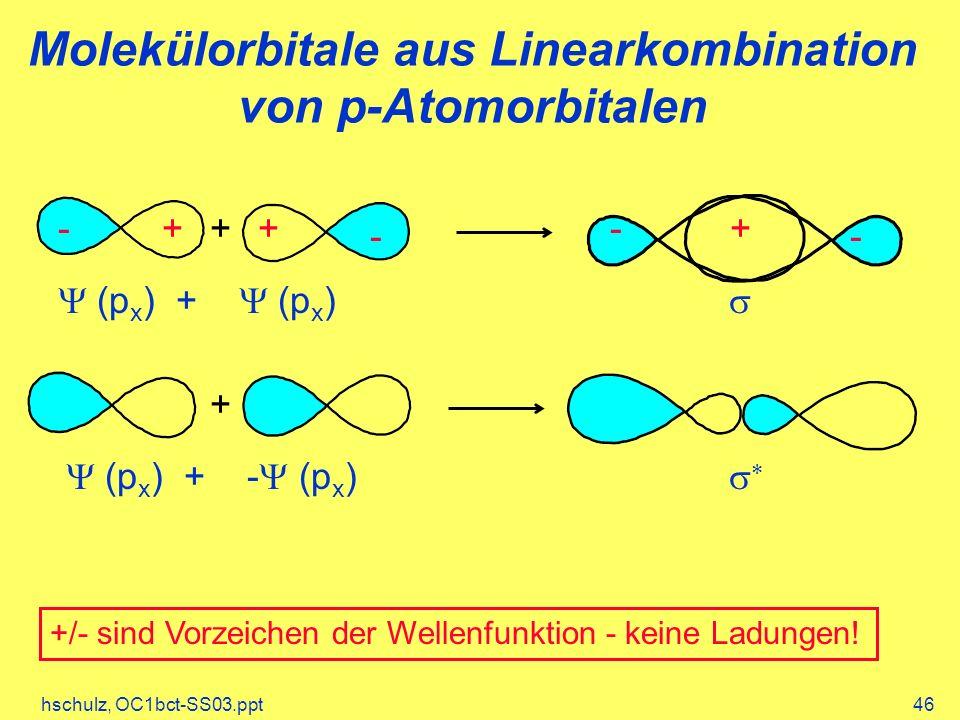 hschulz, OC1bct-SS03.ppt46 Molekülorbitale aus Linearkombination von p-Atomorbitalen + (p x ) + (p x ) +++ -- -- + (p x ) + - (p x ) +/- sind Vorzeich