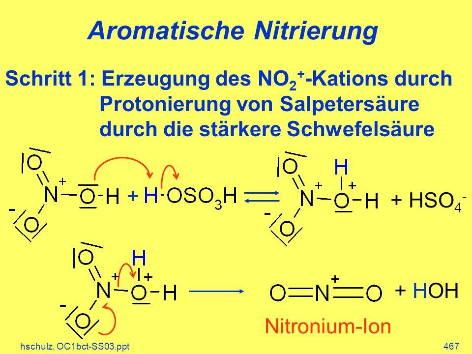 hschulz, OC1bct-SS03.ppt467 Aromatische Nitrierung Schritt 1: Erzeugung des NO 2 + -Kations durch Protonierung von Salpetersäure durch die stärkere Sc