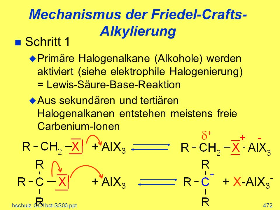 hschulz, OC1bct-SS03.ppt472 Mechanismus der Friedel-Crafts- Alkylierung Schritt 1 Primäre Halogenalkane (Alkohole) werden aktiviert (siehe elektrophile Halogenierung) = Lewis-Säure-Base-Reaktion Aus sekundären und tertiären Halogenalkanen entstehen meistens freie Carbenium-Ionen + AlX 3 + X-AlX 3 - + AlX 3 +