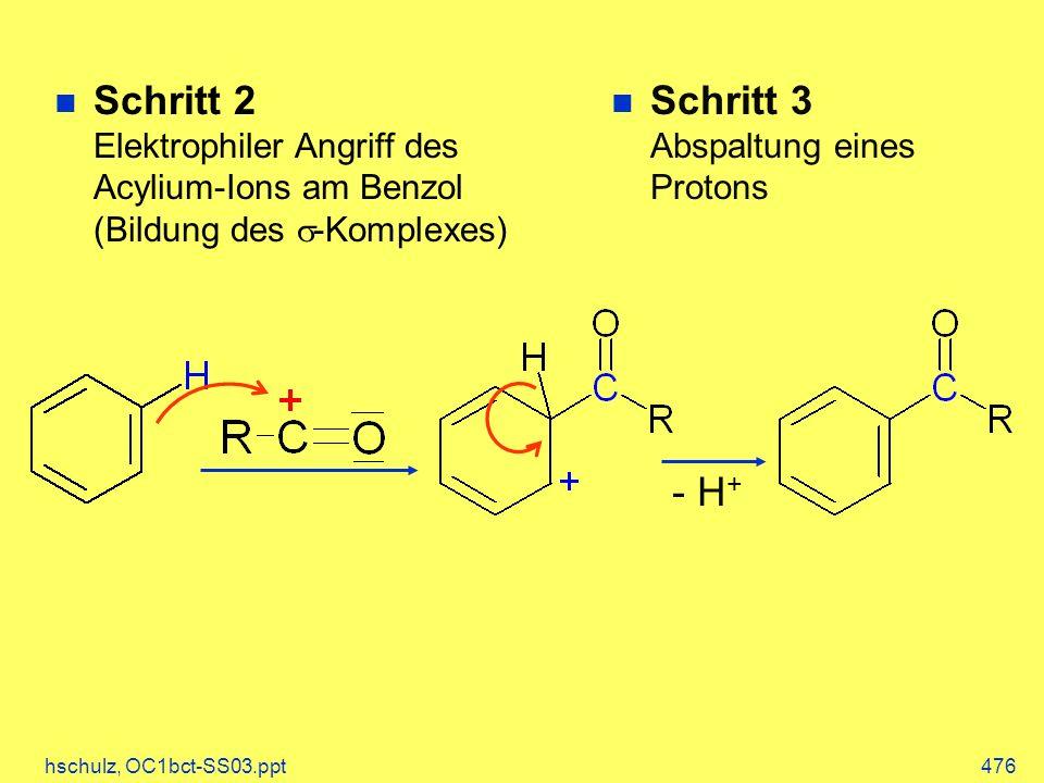 hschulz, OC1bct-SS03.ppt476 Schritt 2 Elektrophiler Angriff des Acylium-Ions am Benzol (Bildung des -Komplexes) - H + n Schritt 3 Abspaltung eines Pro