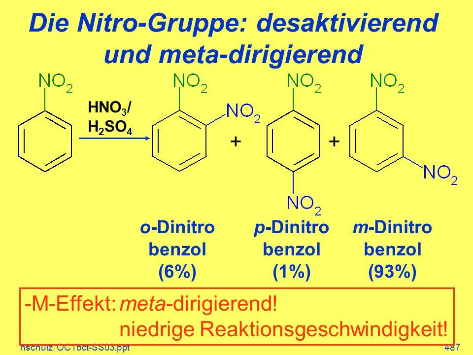 hschulz, OC1bct-SS03.ppt487 Die Nitro-Gruppe: desaktivierend und meta-dirigierend HNO 3 / H 2 SO 4 ++ o-Dinitro benzol (6%) m-Dinitro benzol (93%) p-Dinitro benzol (1%) -M-Effekt:meta-dirigierend.