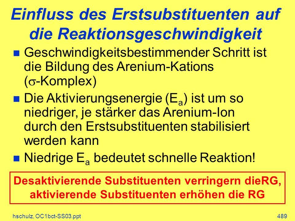 hschulz, OC1bct-SS03.ppt489 Einfluss des Erstsubstituenten auf die Reaktionsgeschwindigkeit Geschwindigkeitsbestimmender Schritt ist die Bildung des Arenium-Kations ( -Komplex) Die Aktivierungsenergie (E a ) ist um so niedriger, je stärker das Arenium-Ion durch den Erstsubstituenten stabilisiert werden kann Niedrige E a bedeutet schnelle Reaktion.