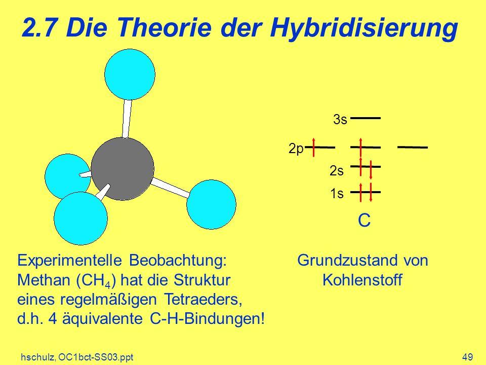 hschulz, OC1bct-SS03.ppt49 2.7 Die Theorie der Hybridisierung 1s 2p 3s 2s C Experimentelle Beobachtung: Methan (CH 4 ) hat die Struktur eines regelmäßigen Tetraeders, d.h.