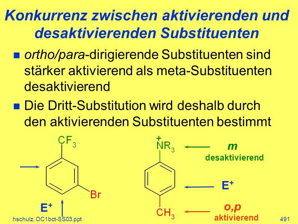 hschulz, OC1bct-SS03.ppt491 Konkurrenz zwischen aktivierenden und desaktivierenden Substituenten m desaktivierend aktivierend o,p E+E+ ortho/para-dirigierende Substituenten sind stärker aktivierend als meta-Substituenten desaktivierend Die Dritt-Substitution wird deshalb durch den aktivierenden Substituenten bestimmt E+E+