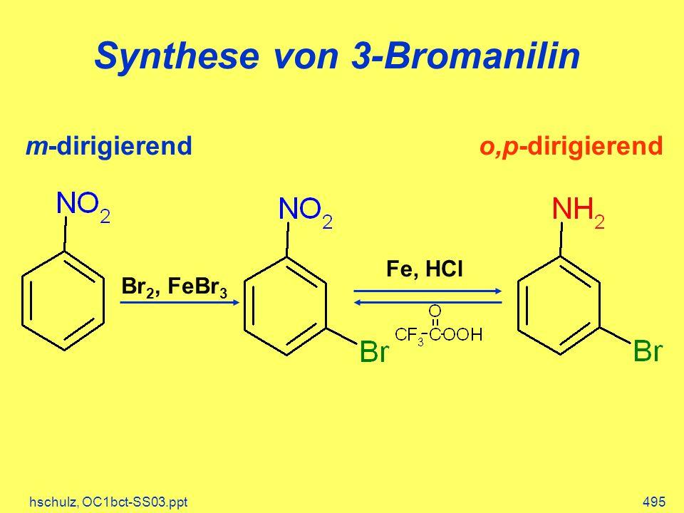 hschulz, OC1bct-SS03.ppt495 Synthese von 3-Bromanilin Fe, HCl Br 2, FeBr 3 m-dirigierendo,p-dirigierend