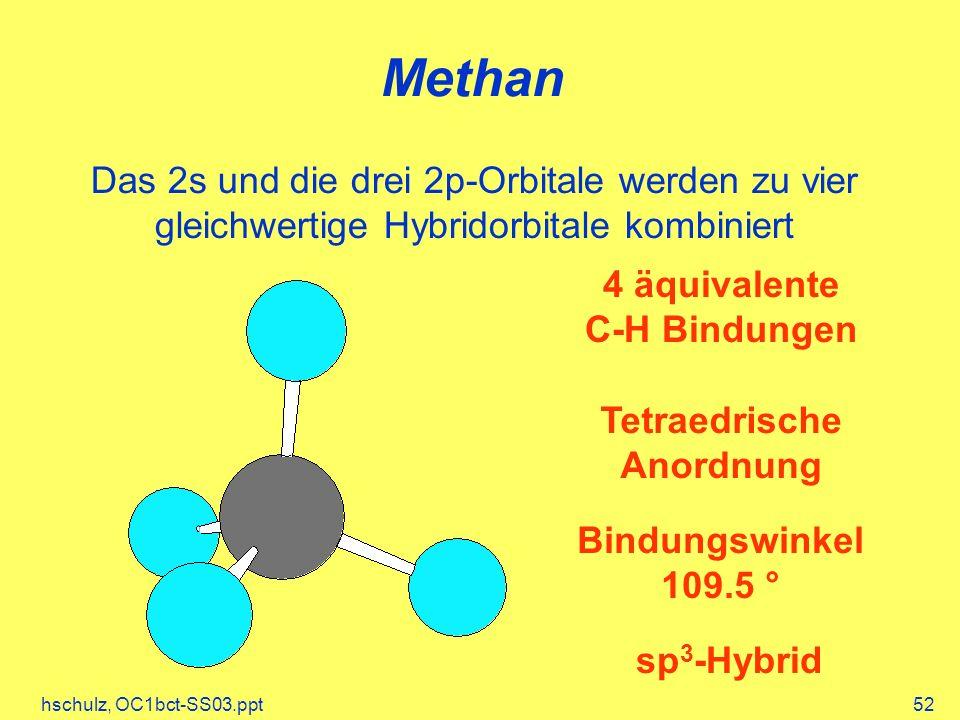 hschulz, OC1bct-SS03.ppt52 Methan 4 äquivalente C-H Bindungen Tetraedrische Anordnung Bindungswinkel 109.5 ° Das 2s und die drei 2p-Orbitale werden zu