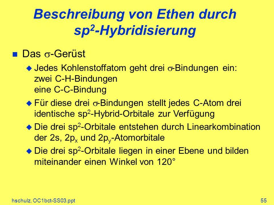 hschulz, OC1bct-SS03.ppt55 Beschreibung von Ethen durch sp 2 -Hybridisierung Das -Gerüst Jedes Kohlenstoffatom geht drei -Bindungen ein: zwei C-H-Bind