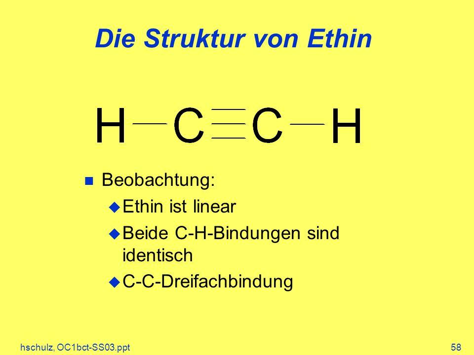 hschulz, OC1bct-SS03.ppt58 Die Struktur von Ethin Beobachtung: Ethin ist linear Beide C-H-Bindungen sind identisch C-C-Dreifachbindung