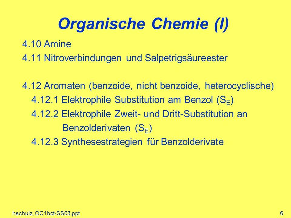 hschulz, OC1bct-SS03.ppt337 Prioritäten bei der Namensgebung Seitengruppe < Alken < Alkin < Alkohol Prioritäten bei der Nummerierung der C-Kette Seitengruppe < Alkin < Alken < Alkohol Nomenklatur der Alkine 2 1 34 6 5 7 8 7-Brom-3-octin 12 4 3 5 6 5-Methyl-3-hexen-1-in4-Pentin-1-ol 54 2 3 1 65 3 4 2 1 1-Hexen-5-in