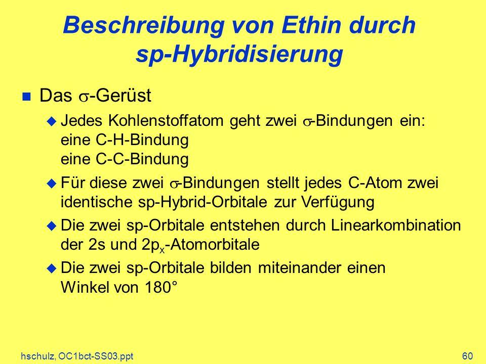 hschulz, OC1bct-SS03.ppt60 Beschreibung von Ethin durch sp-Hybridisierung Das -Gerüst Jedes Kohlenstoffatom geht zwei -Bindungen ein: eine C-H-Bindung