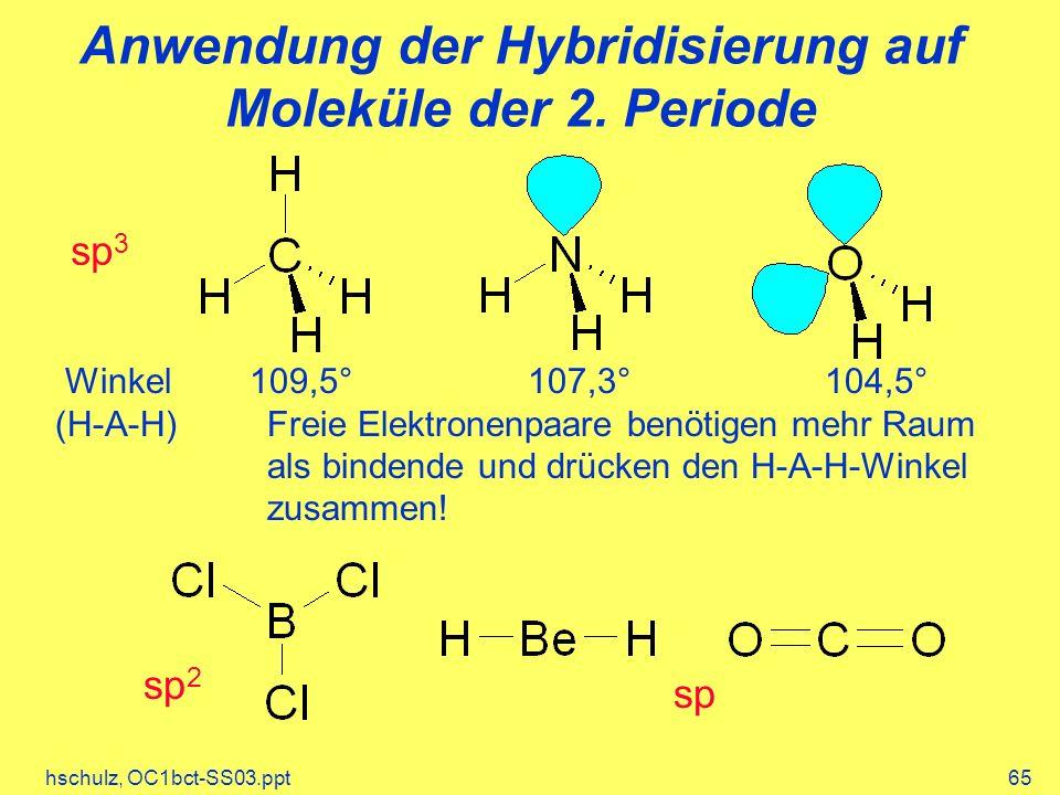 hschulz, OC1bct-SS03.ppt65 Anwendung der Hybridisierung auf Moleküle der 2. Periode Winkel 109,5° 107,3° 104,5° (H-A-H)Freie Elektronenpaare benötigen