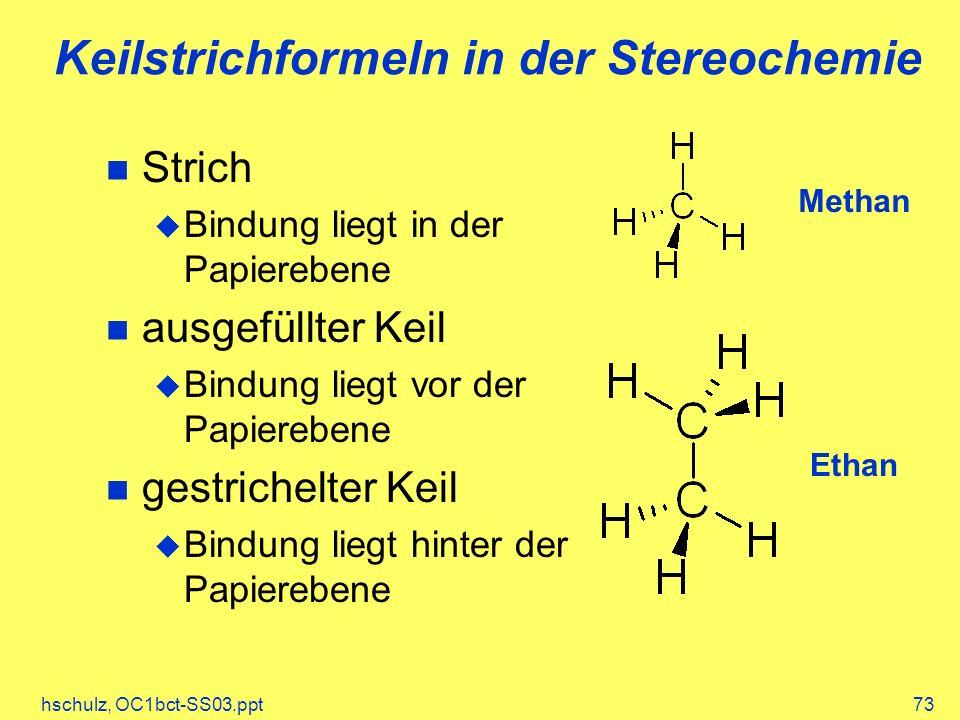 hschulz, OC1bct-SS03.ppt73 Keilstrichformeln in der Stereochemie Methan Ethan Strich Bindung liegt in der Papierebene ausgefüllter Keil Bindung liegt vor der Papierebene gestrichelter Keil Bindung liegt hinter der Papierebene