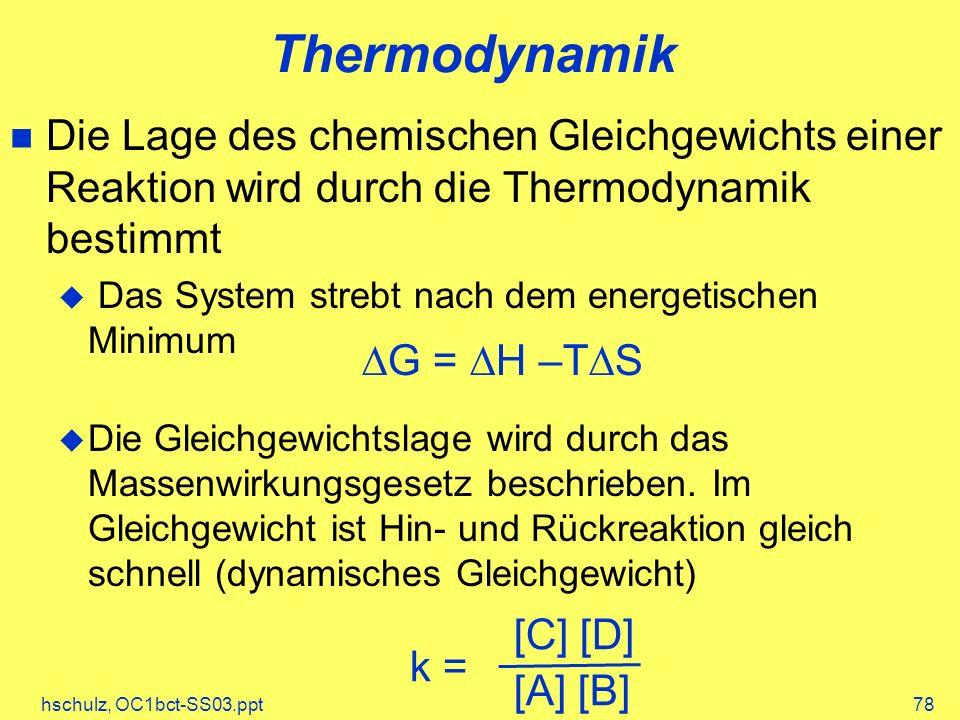hschulz, OC1bct-SS03.ppt78 Thermodynamik Die Lage des chemischen Gleichgewichts einer Reaktion wird durch die Thermodynamik bestimmt Das System strebt nach dem energetischen Minimum Die Gleichgewichtslage wird durch das Massenwirkungsgesetz beschrieben.