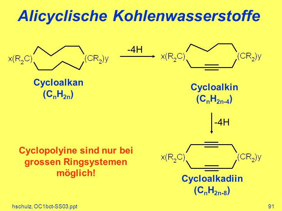 hschulz, OC1bct-SS03.ppt91 Alicyclische Kohlenwasserstoffe Cycloalkan (C n H 2n ) -4H Cycloalkin (C n H 2n-4 ) -4H Cycloalkadiin (C n H 2n-8 ) Cyclopolyine sind nur bei grossen Ringsystemen möglich!