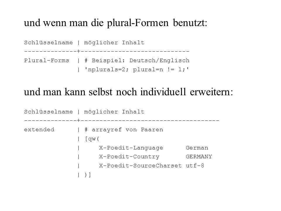 und wenn man die plural-Formen benutzt: Schlüsselname | möglicher Inhalt --------------+----------------------------- Plural-Forms | # Beispiel: Deuts