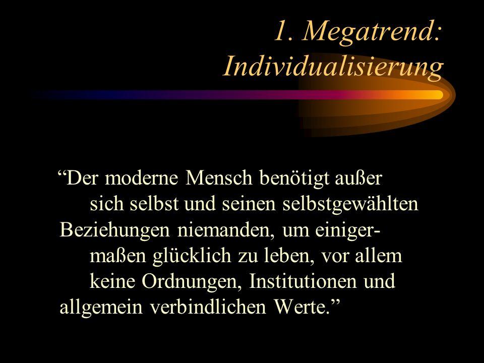 1. Megatrend: Individualisierung Der moderne Mensch benötigt außer sich selbst und seinen selbstgewählten Beziehungen niemanden, um einiger- maßen glü