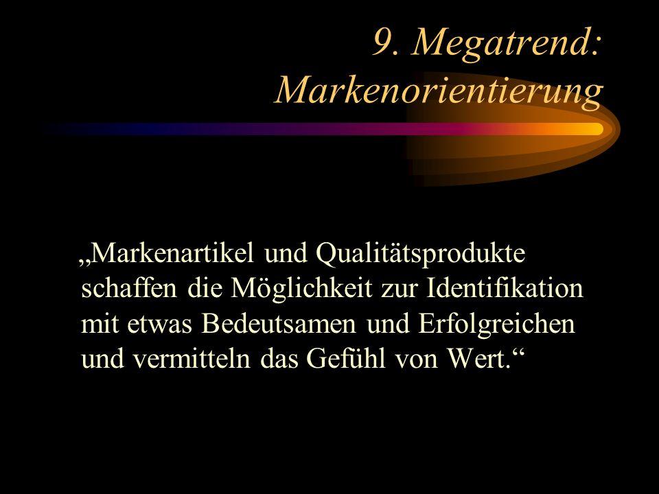 9. Megatrend: Markenorientierung Markenartikel und Qualitätsprodukte schaffen die Möglichkeit zur Identifikation mit etwas Bedeutsamen und Erfolgreich