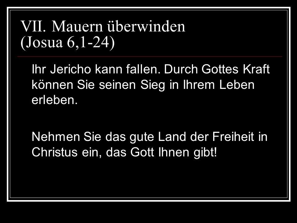 VII. Mauern überwinden (Josua 6,1-24) Ihr Jericho kann fallen. Durch Gottes Kraft können Sie seinen Sieg in Ihrem Leben erleben. Nehmen Sie das gute L
