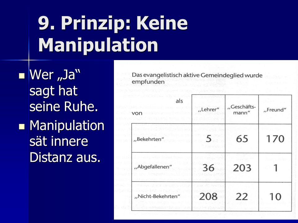 9. Prinzip: Keine Manipulation Wer Ja sagt hat seine Ruhe. Wer Ja sagt hat seine Ruhe. Manipulation sät innere Distanz aus. Manipulation sät innere Di