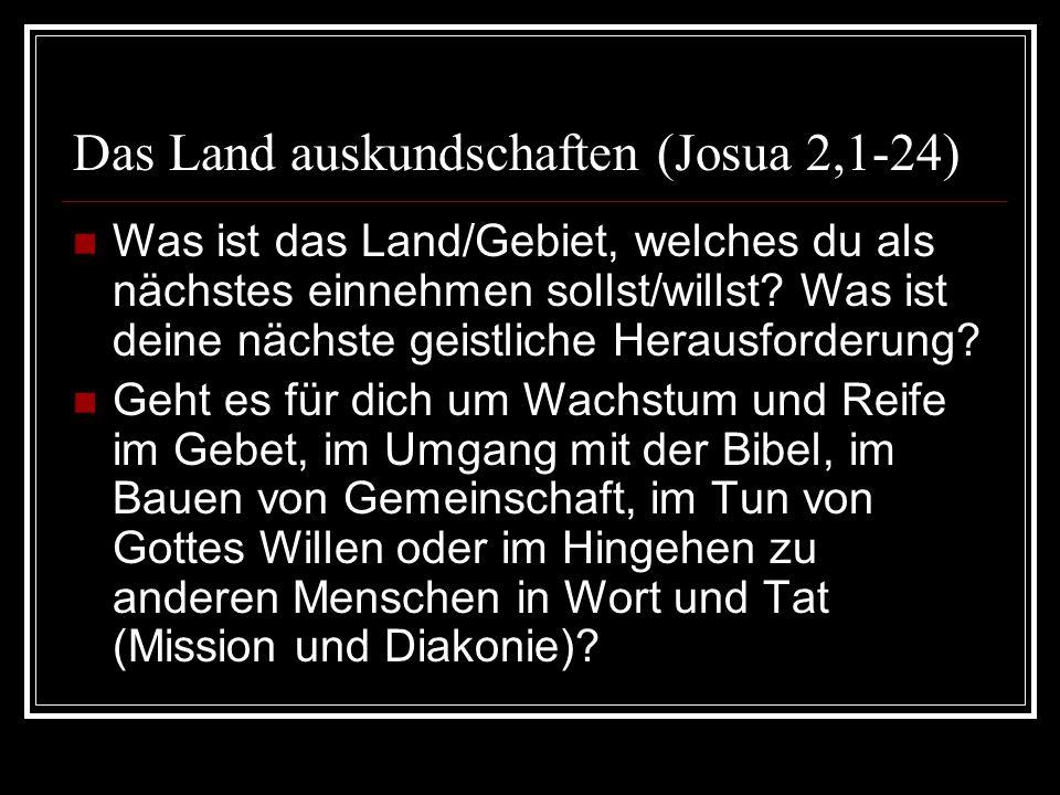 Das Land auskundschaften (Josua 2,1-24) Was ist das Land/Gebiet, welches du als nächstes einnehmen sollst/willst? Was ist deine nächste geistliche Her