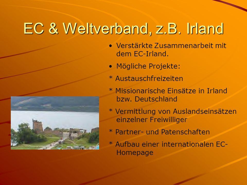 EC & Weltverband, z.B. Irland Verstärkte Zusammenarbeit mit dem EC-Irland. Mögliche Projekte: * Austauschfreizeiten * Missionarische Einsätze in Irlan